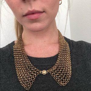 Talbots Gold Mesh Collar Necklace